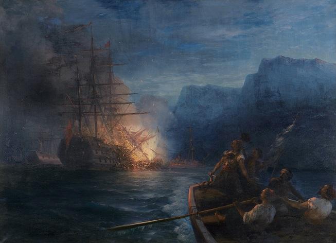 Das Verbrennen des türkischen Flaggschiffs durch Kanaris